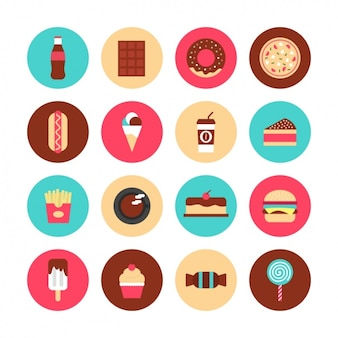 Ícones sobre comida