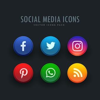 ícones sociais dos media embalar em estilo de botão
