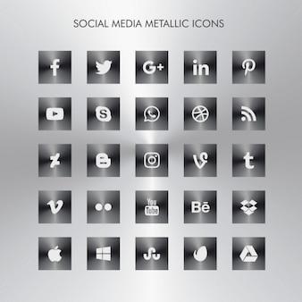 ícones sociais dos media preto metálico