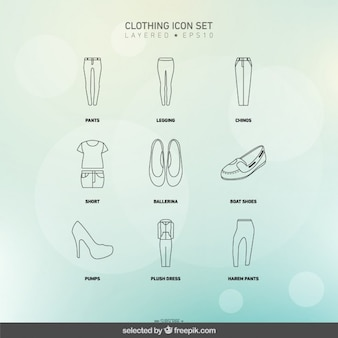 Ícones vestuário conjunto de mulher