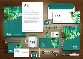 Identidade corporativa de tecnologia digital, Design de modelo de itens de presente com conceito de conjunto de links Resumo Mock Up. Papelaria de tecnologia de negócios Projeto de papel de textura vetorial
