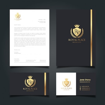 Identidade corporativa preto e dourado elegante