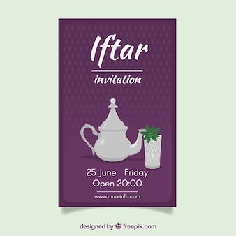 Iftar convite com chá