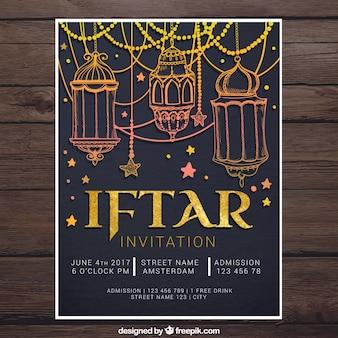 Iftar convite com desenhos dourados