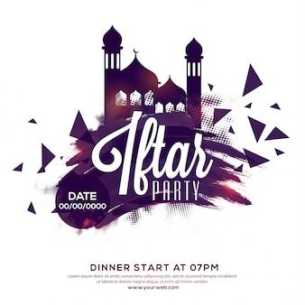 Iftar Party Invitation, Poster, Banner ou Flyer design, fundo abstrato com mesquita, pinceladas e efeito pontilhado pontilhado para o conceito do Festival Islâmico.