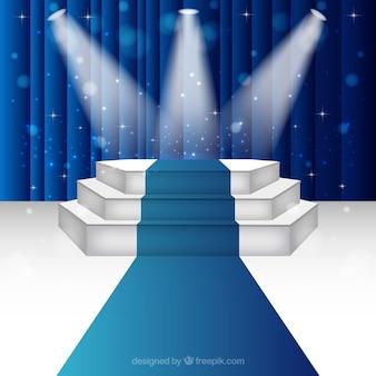 Iluminado pódio fase
