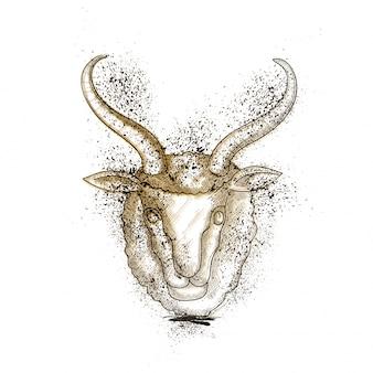 Ilustração abstrata do rosto de cabra.