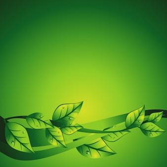 Ilustração abstrata verde do vetor da onda com folha