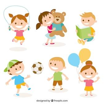 Ilustração bonito de crianças brincando
