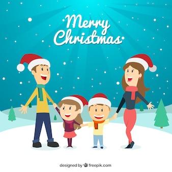 Ilustração bonito familiy na neve