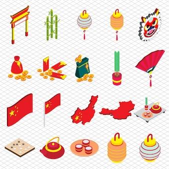 Ilustração, chinês, objeto, gráfico, isométrico, 3D, gráfico