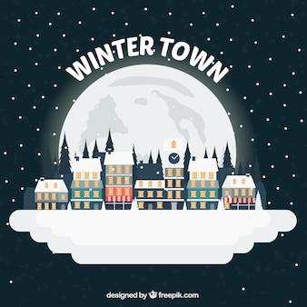 Ilustração cidade nevado