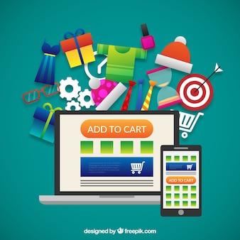 Ilustração compras on-line