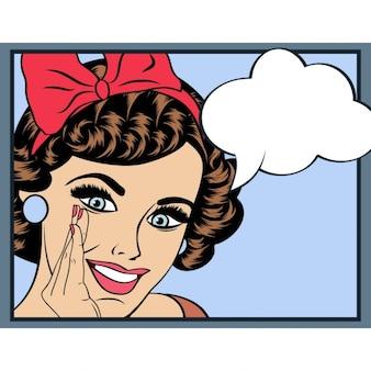 Ilustração da arte pop da menina com o discurso convite BubblePop Menina de partido da arte da mulher do aniversário cardVintage cartaz publicitário Moda com bolha do discurso