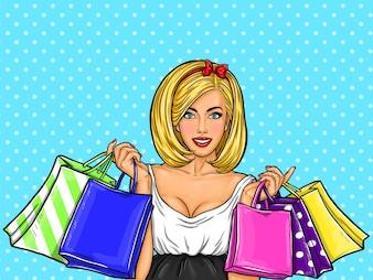 Ilustração da arte pop do vetor de uma menina feliz sexy nova que prende sacos de compra.