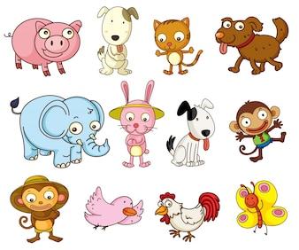 Ilustração de animais de desenho animado em branco