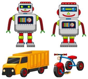 Ilustração de brinquedos de robôs e veículos