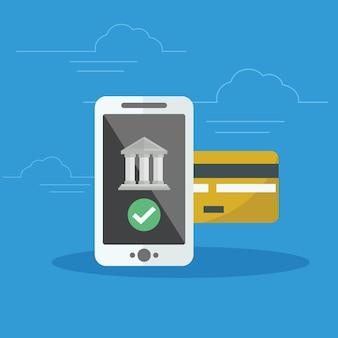 Ilustração de conceito de banco móvel de aplicativo para transferência de dinheiro, contabilidade e banco bancário online. Big smartphone com cartão de crédito e ícone do banco na tela.
