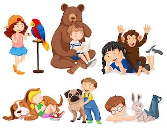 Ilustração de crianças com animais selvagens