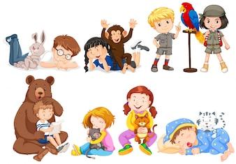 Ilustração de crianças e muitos tipos de animais de estimação