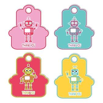 Ilustração de desenho animado de vetores com meninos robô em personagem de quadro coloful adequado para design de conjunto de etiqueta de aniversário, etiqueta de agradecimento e conjunto de adesivo imprimível