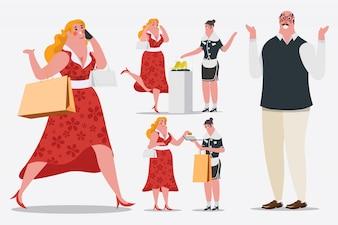 Ilustração de desenho de personagem de desenho animado. As mulheres andam e ligam para telefones celulares Os sacos de compras estão entrando na loja. Ela usa um cartão de crédito.