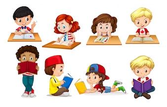 Ilustração de leitura e escrita de menino e menina