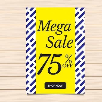 Ilustração de moda da bandeira e do folheto da venda Mega