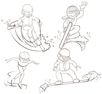 Ilustração de muitos tipos de esportes de inverno