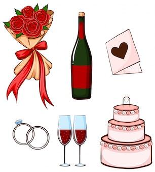 Ilustração de um conjunto de coisas para o casamento