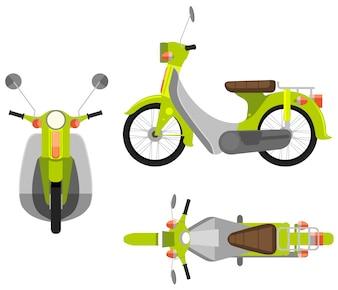 Ilustração de uma visão diferente de uma motocicleta