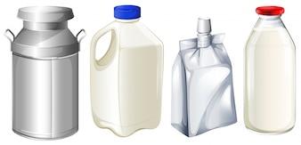 Ilustração, diferente, leite, recipientes, branca, fundo