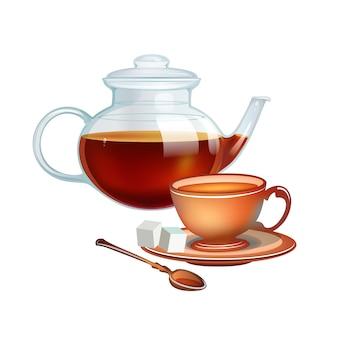 Ilustração do copo de chá e copo de chá