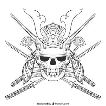 Ilustração do crânio com espadas