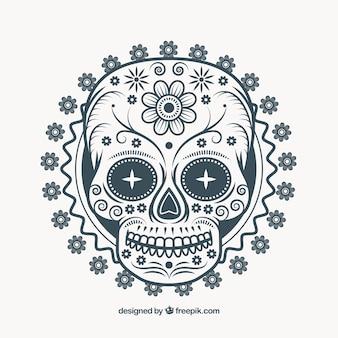 Ilustração do crânio ornamental mexicano