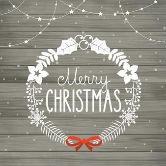 Ilustração do Feliz Natal e Feliz Ano Novo no fundo azul com flocos de neve
