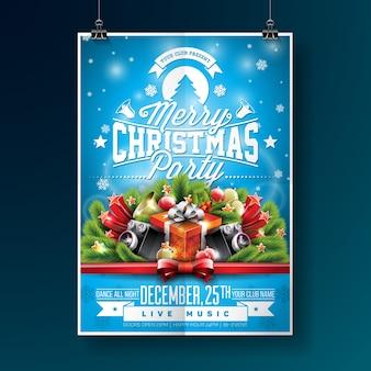 Ilustração do folheto da festa do Feliz Natal com elementos tipográficos e de férias no fundo azul. Molde do cartaz do convite.