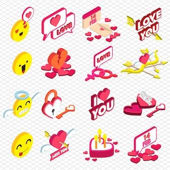 Ilustração do gráfico do ícone do amor no gráfico 3d isométrico