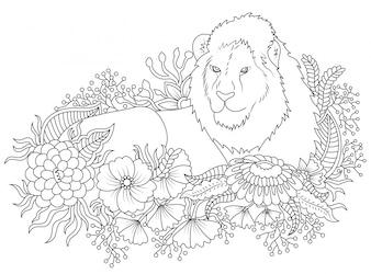 Ilustração do leão e da flor a colorir