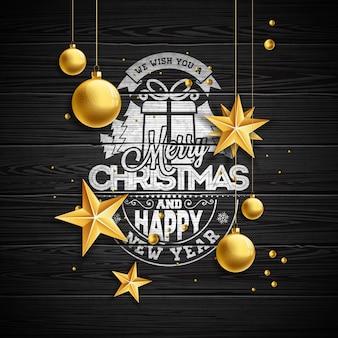 Ilustração do Natal do vetor com tipografia e bolas de vidro do ouro no fundo da madeira do vintage. Ilustração do feriado do vetor.