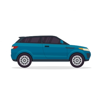 Ilustração do Veículo SUV da Aventura Urbana Azul Moderna