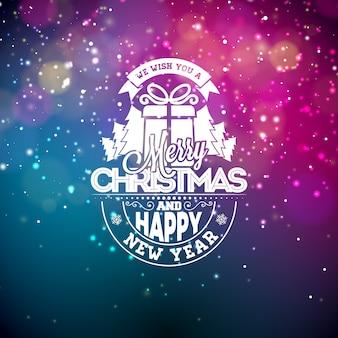 Ilustração do vetor em um tema de natal com luzes brilhantes e tipografia. Design criativo do Holiday para cartão de saudação.