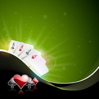 Ilustração do vetor em um tema do casino com cor jogando fichas e cartas de poker no fundo escuro.