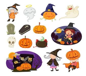 Ilustração dos objetos do Dia das Bruxas