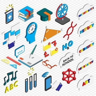 Ilustração, educação, ícones, jogo, conceito, isometric, gráfico
