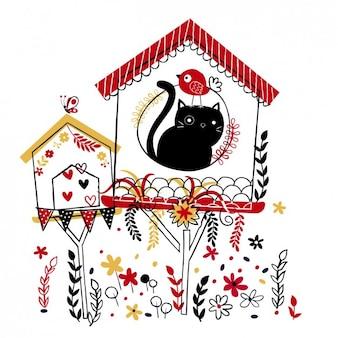 Ilustração engraçada de um gato e pássaro