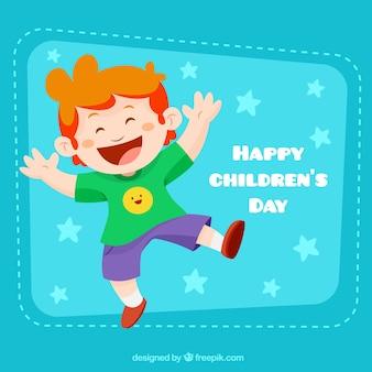 Ilustração engraçada do menino para o dia de chrildren
