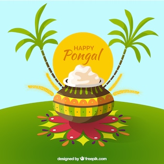 Ilustração feliz Pongal com palmeiras