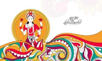 Ilustração mitológica mitológica da deusa de Laxmi em design de lâmpadas florais e de iluminação a óleo colorido.