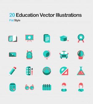 Ilustração plana de educação